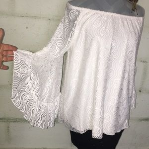 Beautiful White Bell sleeve off the shoulder top